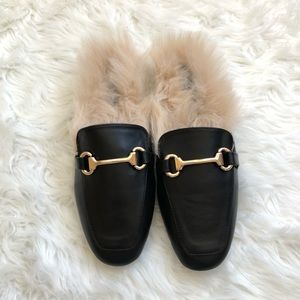 Shoes - NWB black slip ons with gold horse-bit detail sz 8